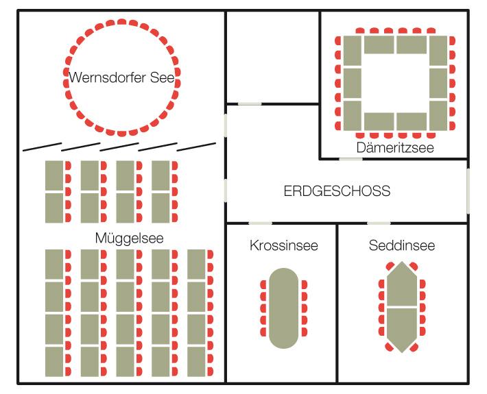 Illustration Bestuhlung Tagungsräume Erdgeschoss