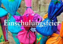 """Bunte Schültüten mit Schriftzug """"Einschulungsfeier"""""""